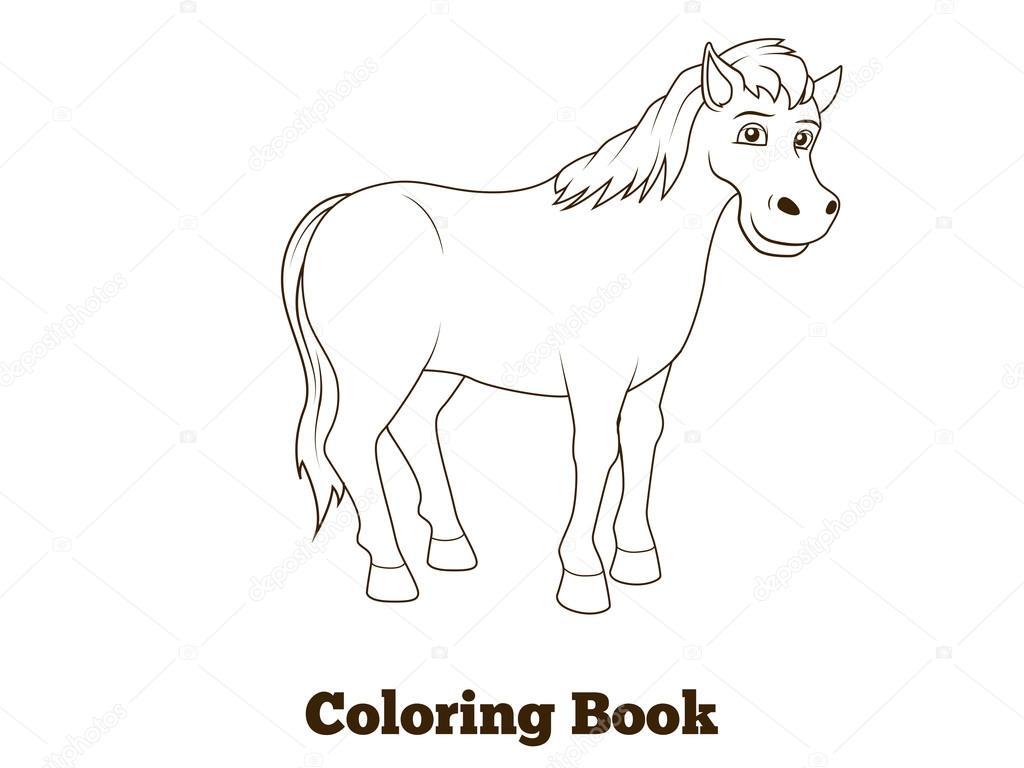 Ilustración de dibujos animados para colorear libros caballo ...