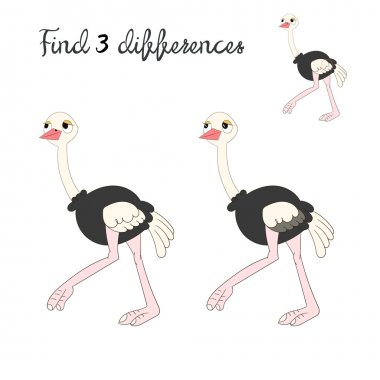 Find differences kids layout for game ostrich