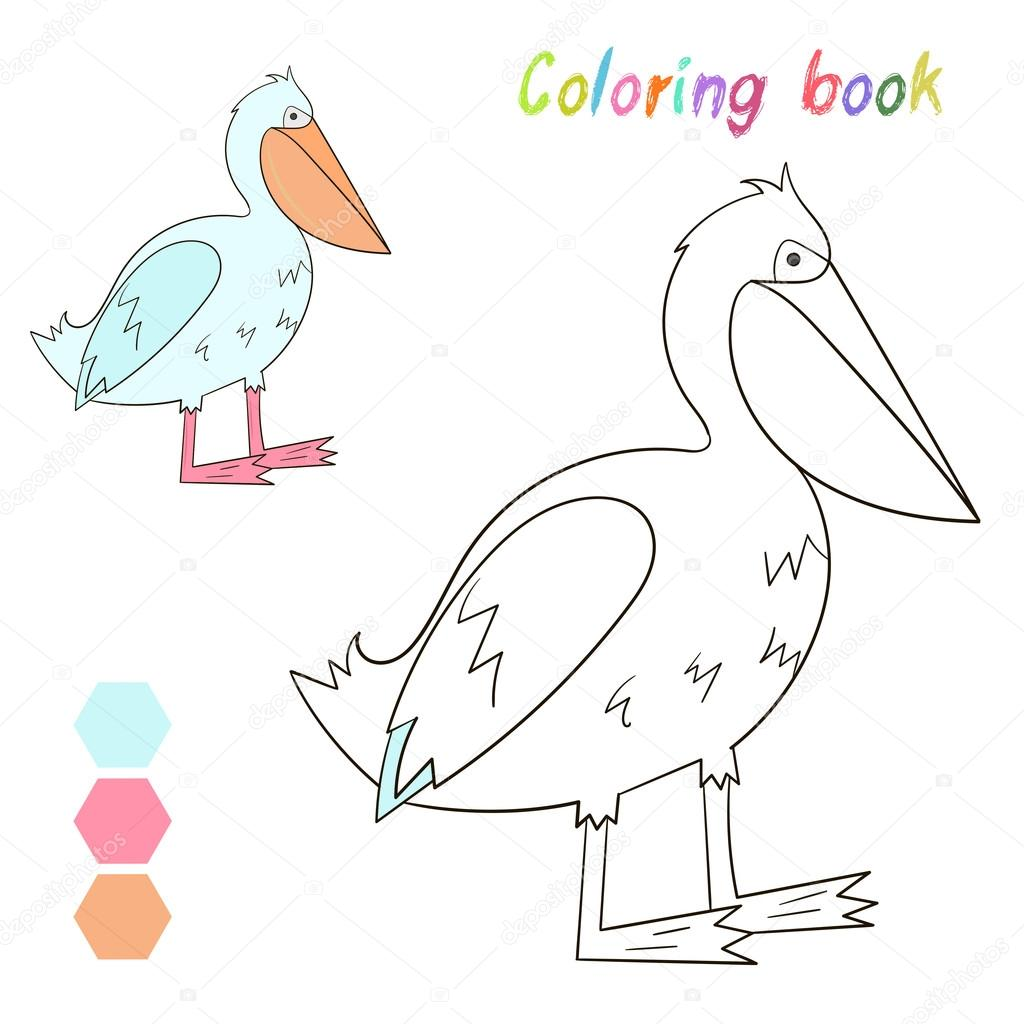 Coloring Book Pelican Kids Layout For Game Cartoon Hand Drawn Doodle Vector Illustration By AlexanderPokusay