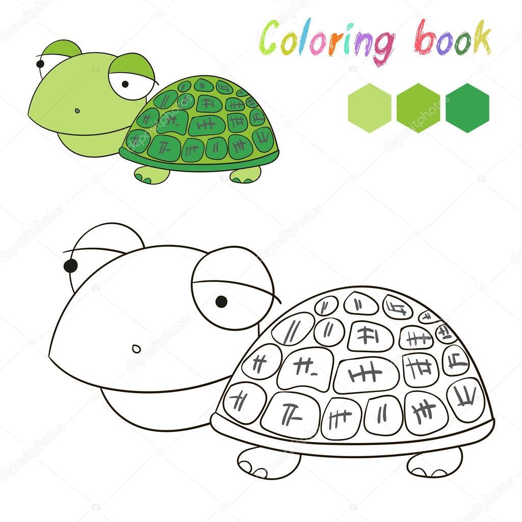 Färbung Buchlayout Schildkröte Kinder für Spiel Vektor — Stockvektor ...