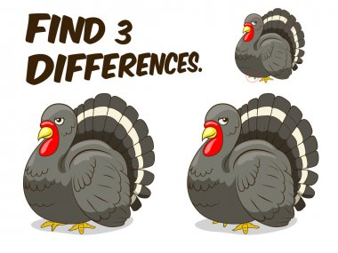 Find differences game turkey vector illustration