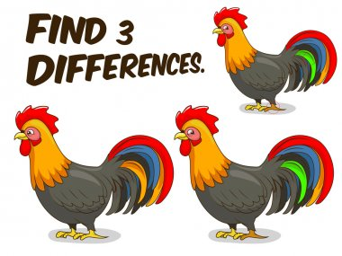 Find differences game rooster vector illustration