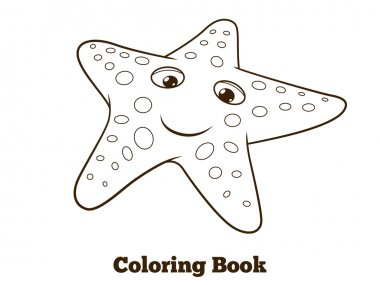 Coloring book starfish fish cartoon vector