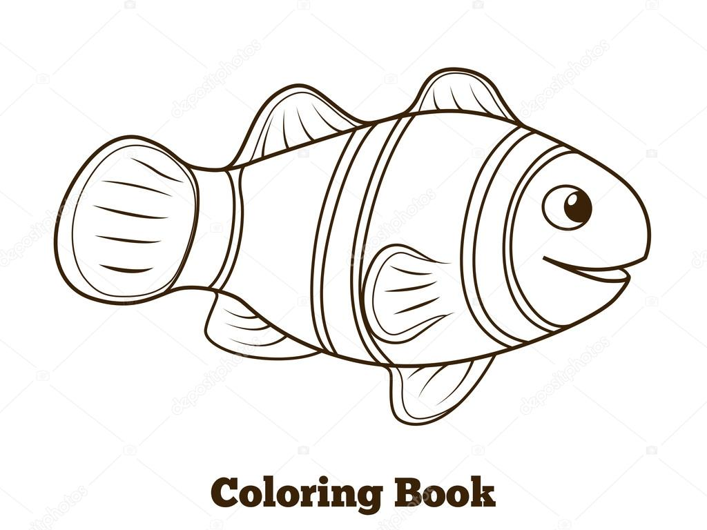 Vector de dibujos animados para colorear peces pez payaso for Pesci da stampare e colorare