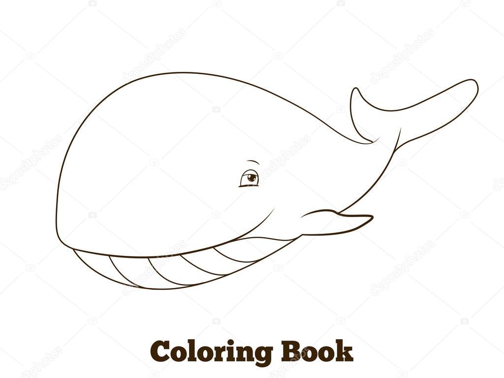 Boyama Kitabı Balina Karikatür Eğitim Stok Vektör