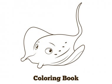 Coloring book stingray cartoon educational