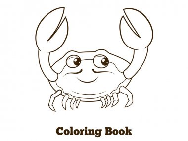 Coloring book crab cartoon educational