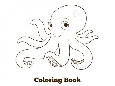 Coloring book octopus cartoon educational