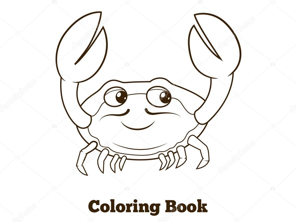 Fumetto Del Granchio Di Libro Da Colorare Educativo Vettoriali