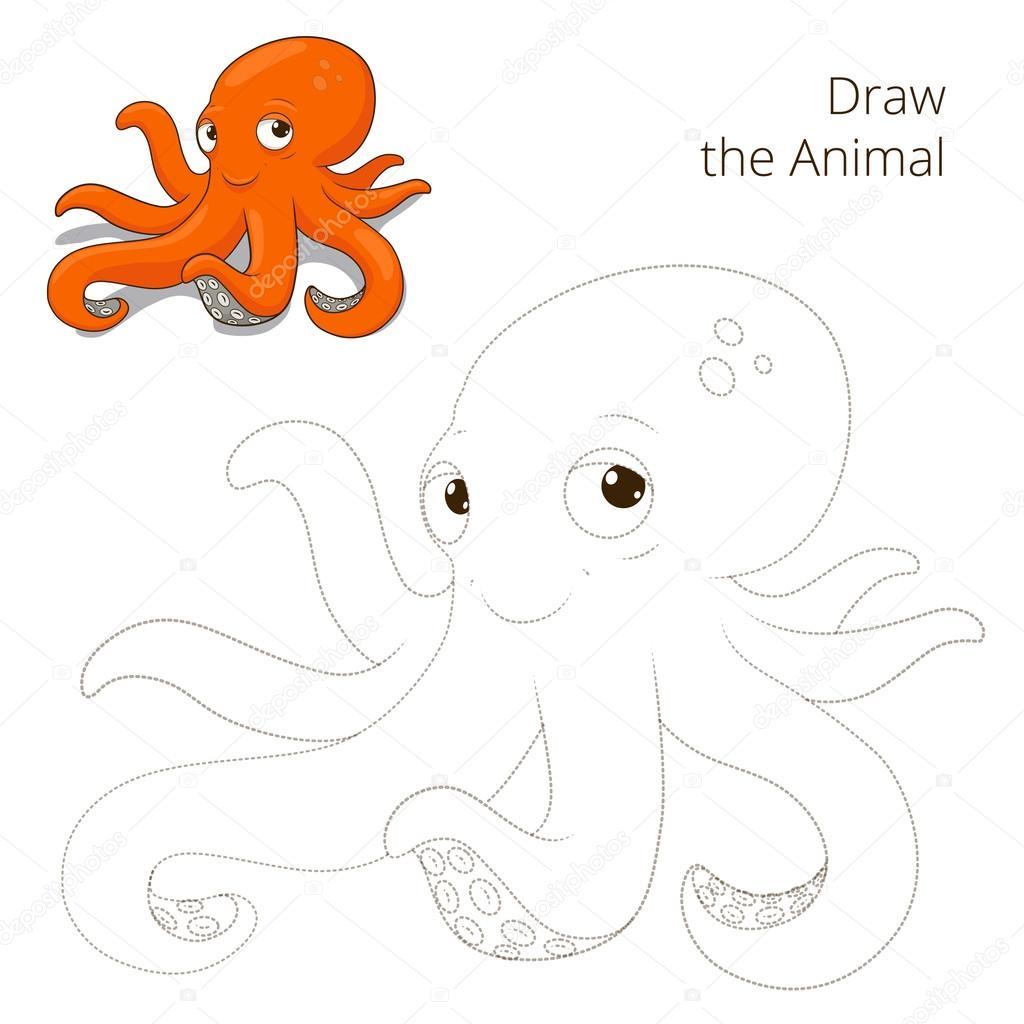 Disegnare Il Gioco Educativo Di Pesce Polpo Animale Vettoriali
