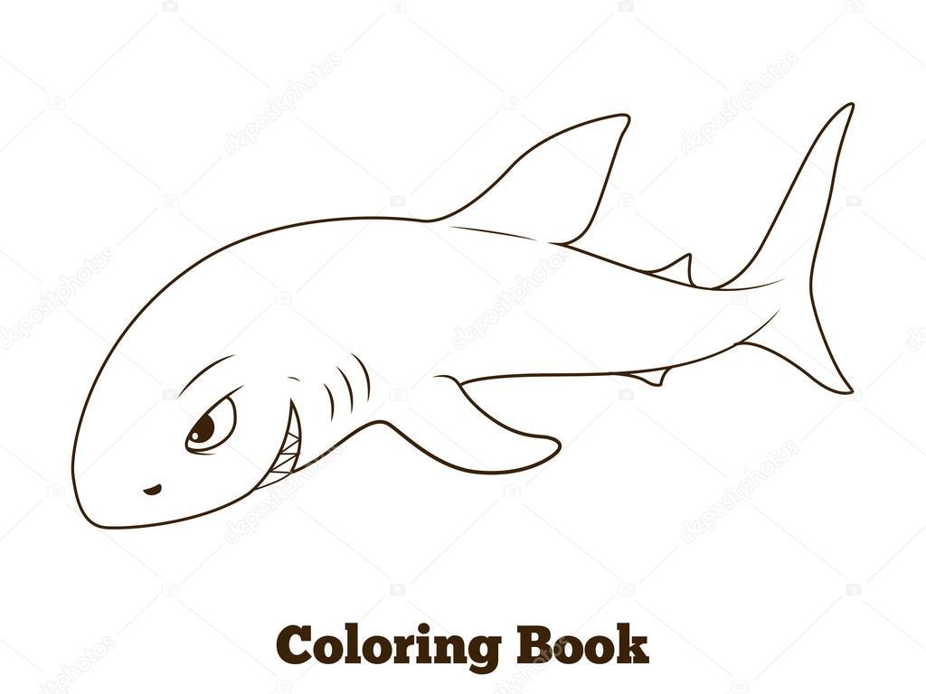 Dibujos Animados De Tiburones Para Colorear: Para Colorear Dibujos De Tiburón De Libro Educativo