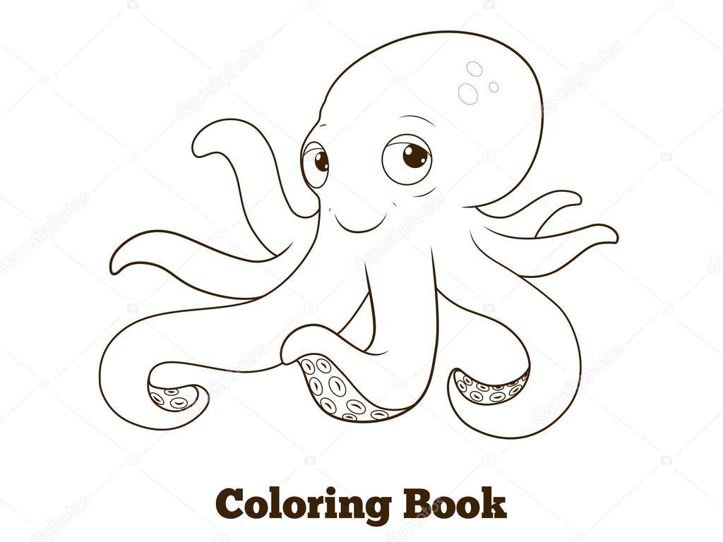 Boyama Kitabı Ahtapot Karikatür Eğitim Stok Vektör