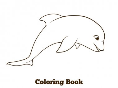 Coloring book dolphin cartoon educational