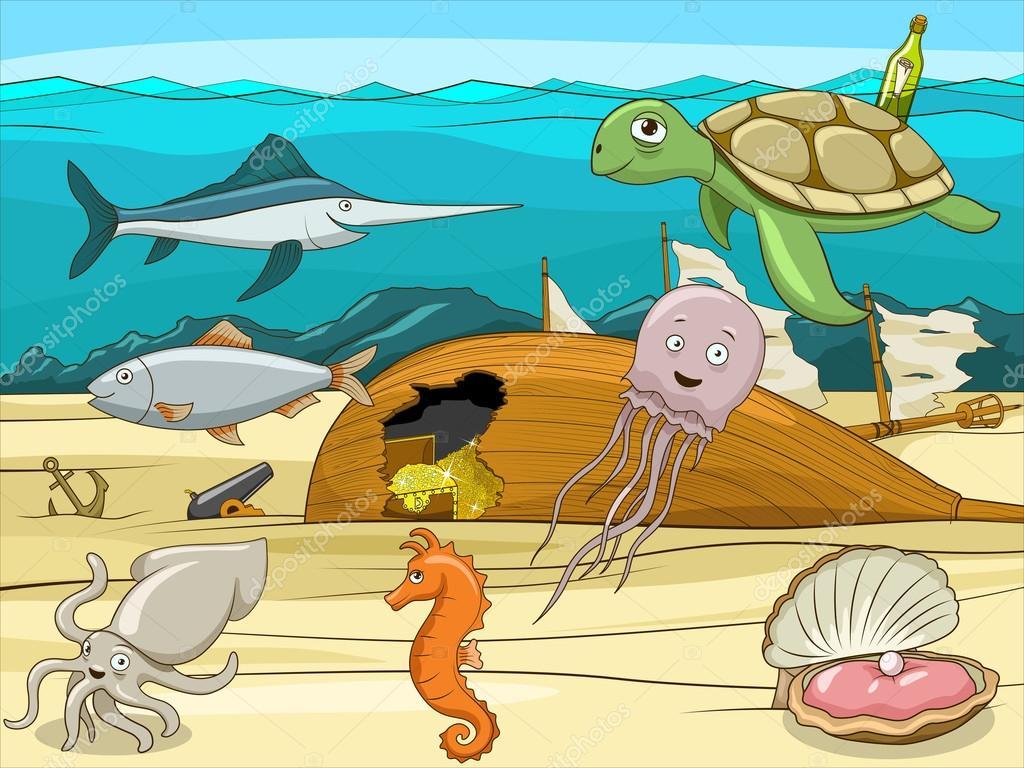 Sea life cartoon educational illustration