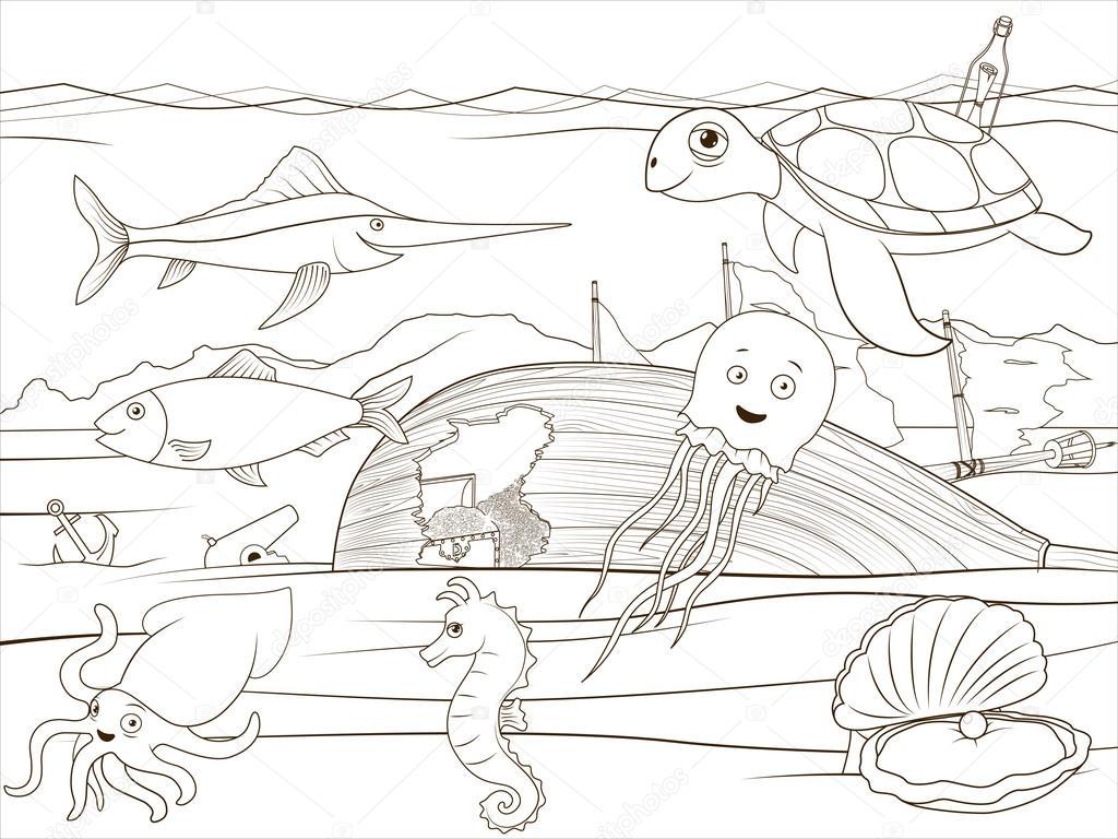 Boyama Kitabı Deniz Hayat Karikatür Eğitim Stok Vektör