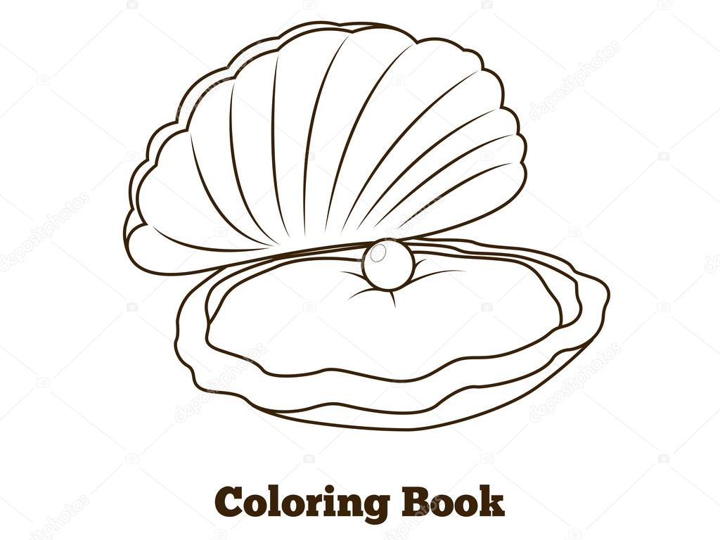 Coloring book oyster fish cartoon  illustration