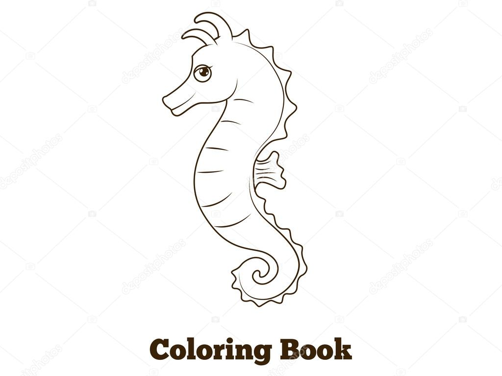 Coloring Book Sea Horse Fish Cartoon Illustration Stock Vector