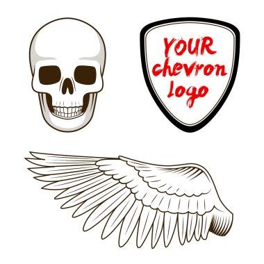 Skull wing and chevron label vector illustration