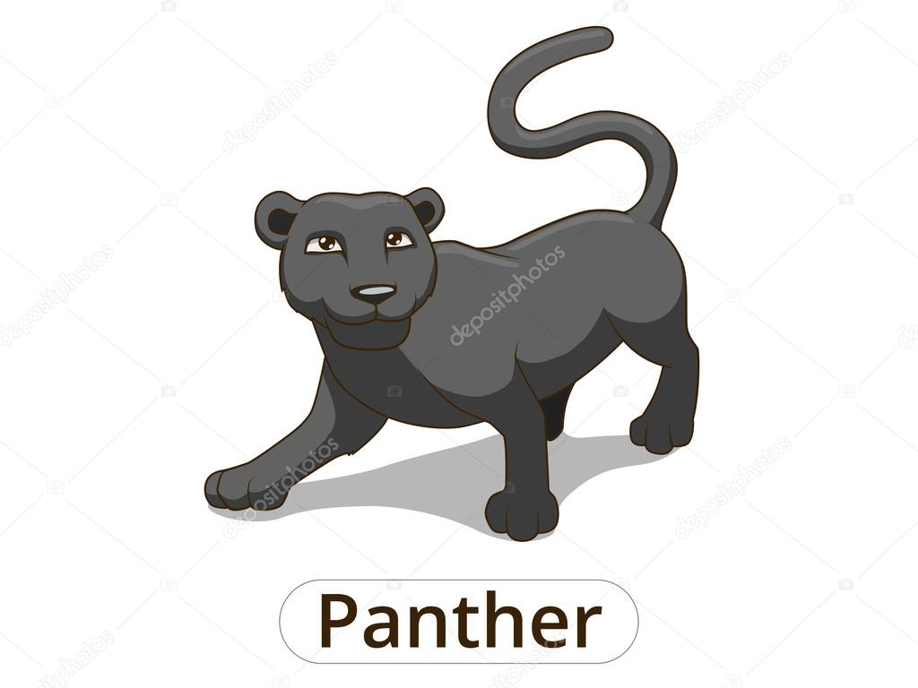 Panther african savannah cartoon illustration