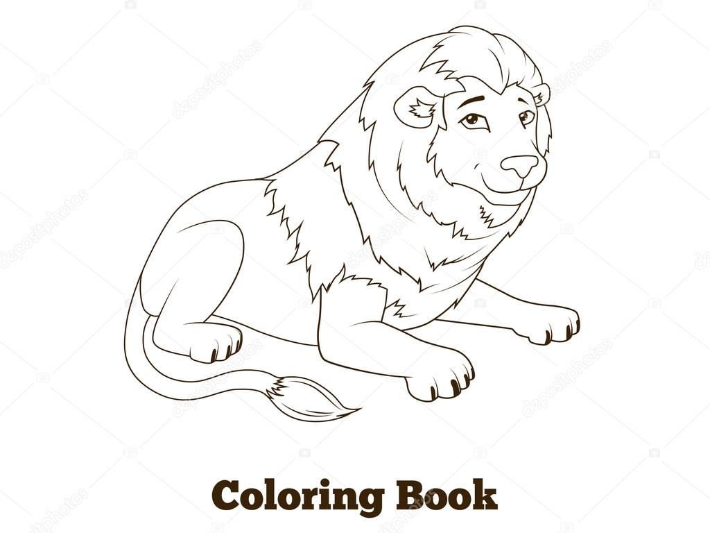 Coloring book lion african animal cartoon — Stock Vector ...