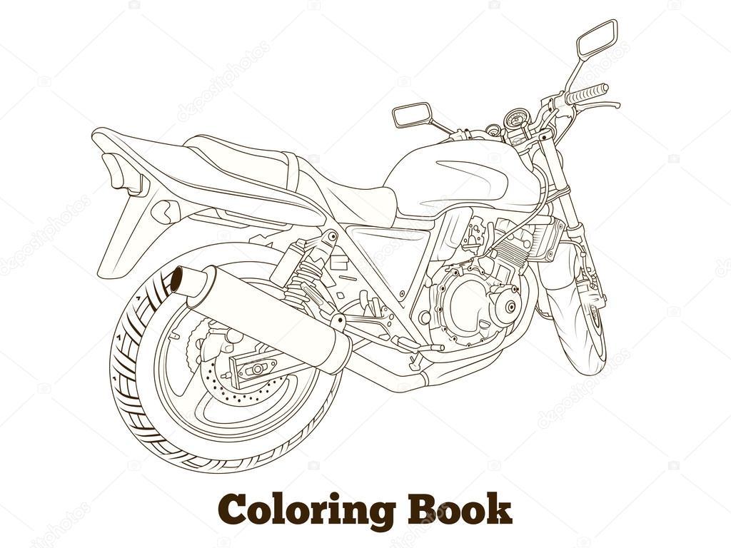Boyama Kitabı Motosiklet Vektör çizim Stok Vektör