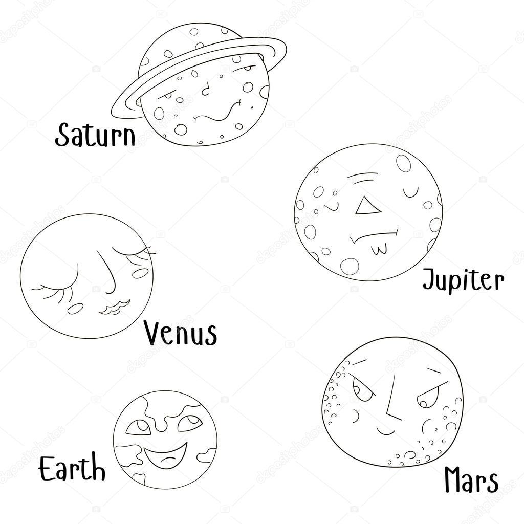 Libro de colorear para vector de planetas de los niños — Vector de ...