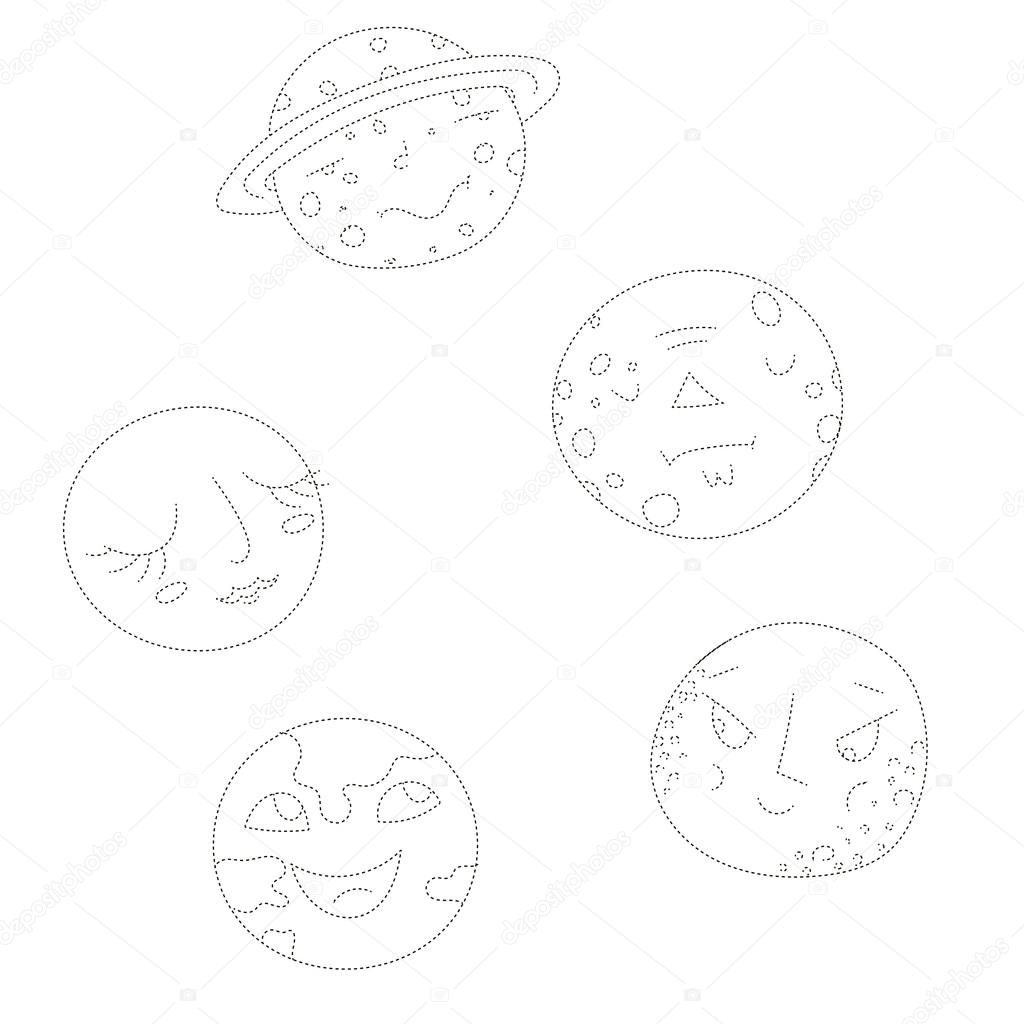 Educational Gameconnect The Dots To Draw Planets Stock Vector