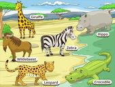 Animali della savana africana gioco educativo