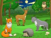 Les s vzdělávací hry kreslený animals