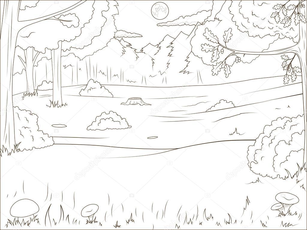 Orman Karikatür Kitap Eğitim Oyunu Boyama Stok Vektör