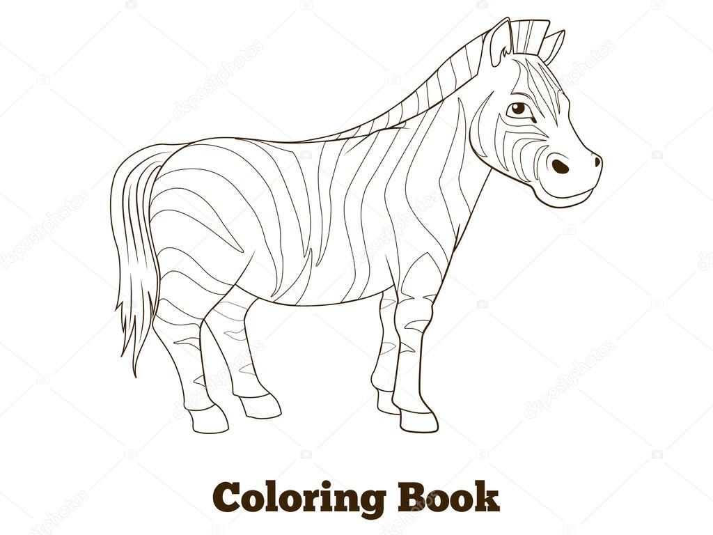 Kitap Zebra Afrika Savana Hayvan Boyama Stok Vektör