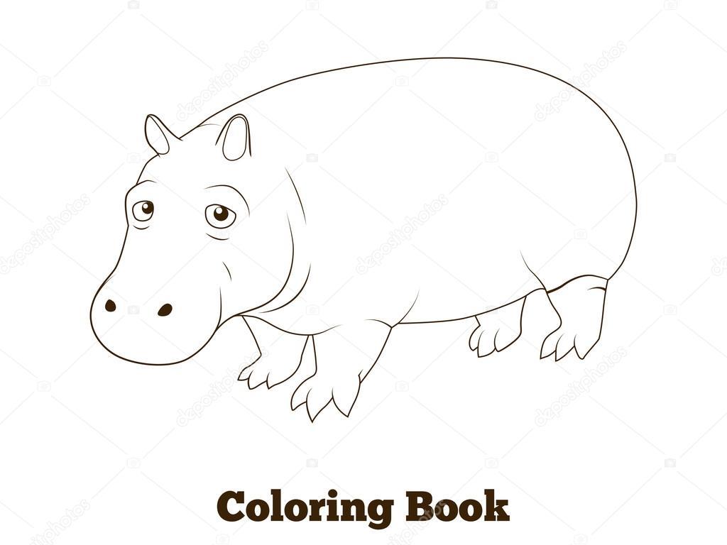 Animales de la sabana africana de hipopótamo de libro para colorear ...