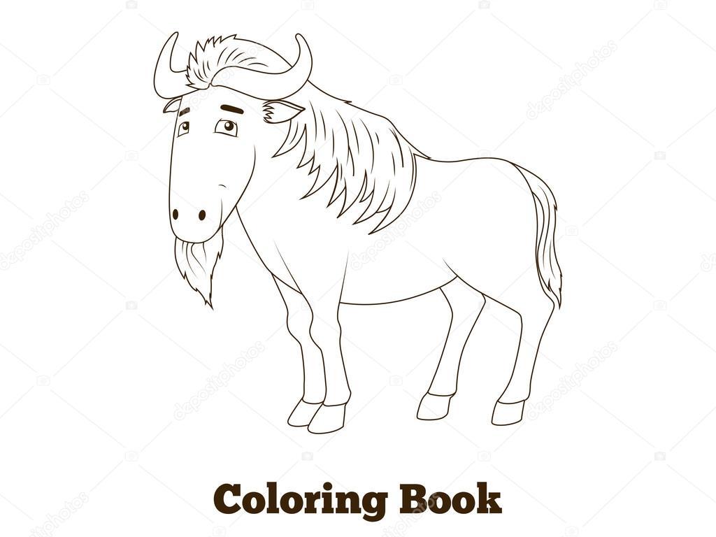 Coloriage Livre Gnou Animaux De La Savane Africaine Image