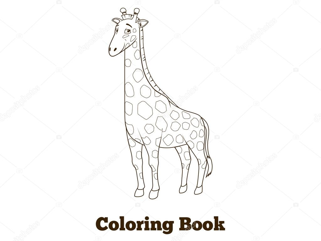 Coloring Book Giraffe African Savannah Animal Cartoon Vector Illustration  For Children U2014 Vector By AlexanderPokusay