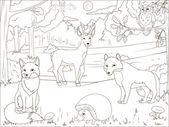 Obarvení kniha Les s kreslené zvířata