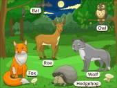 Les s názvy zvířat, kreslený