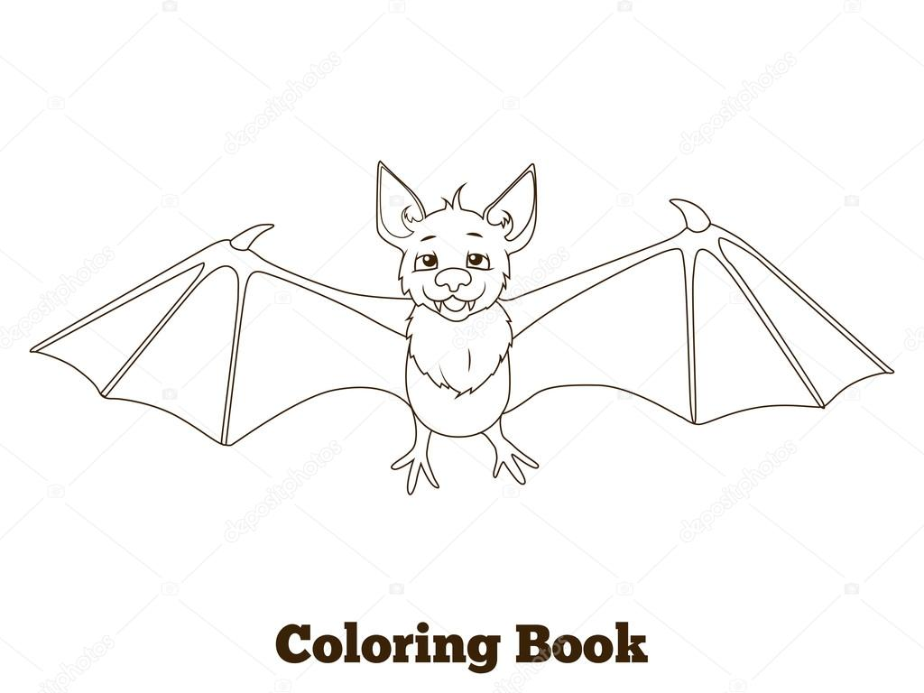 Coloring Book Forest Animal Bat Cartoon Stock Vector