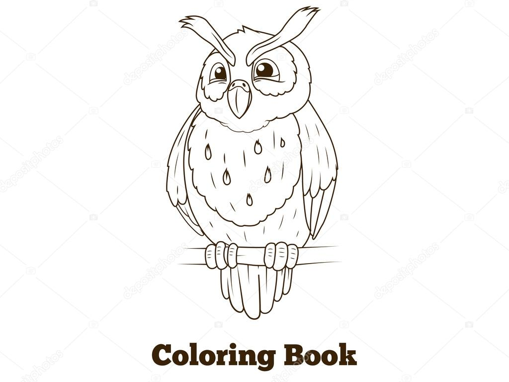 Colorear libro bosque búho aves dibujos animados — Vector de stock ...