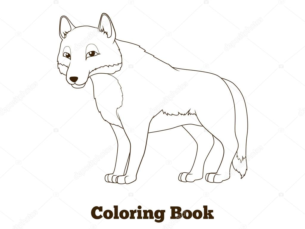 Colorear libro bosque animal lobo de dibujos animados — Vector de ...