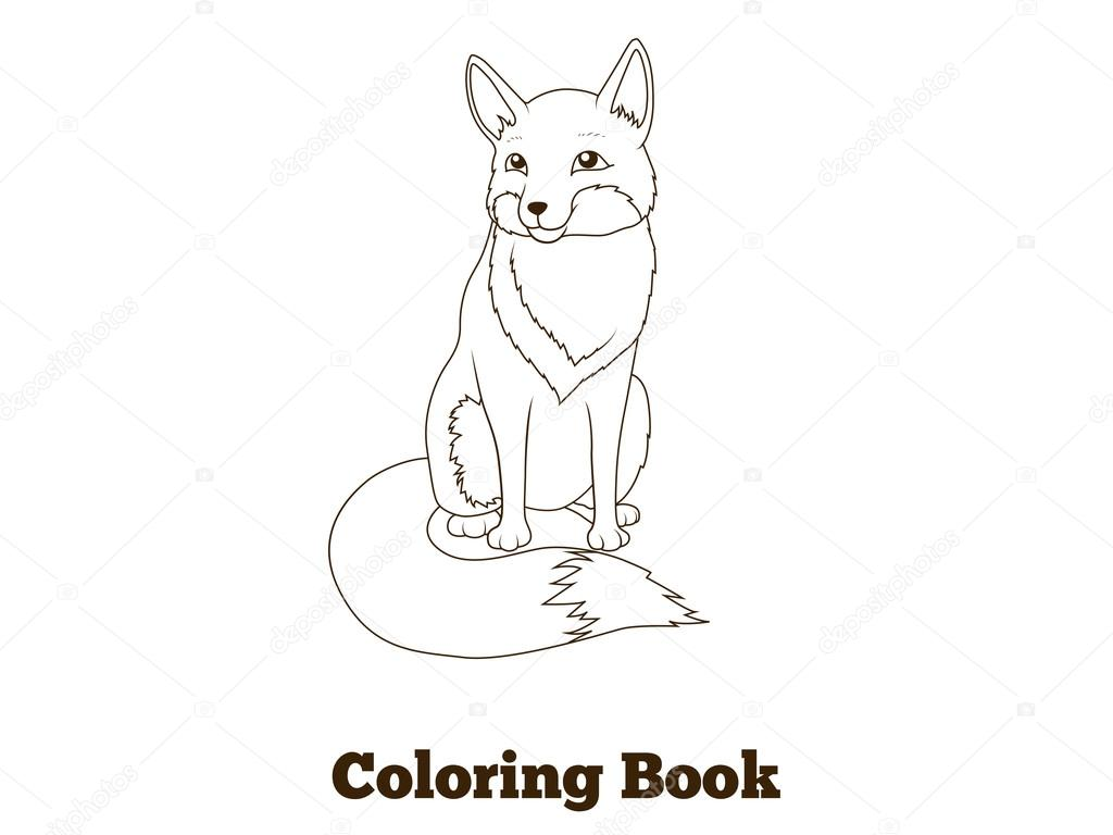 Para colorear dibujos animados de animales fox de bosque libro ...