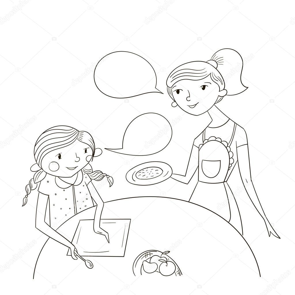 Vector De Dibujos Animados De Comic De Madre E Hija Archivo