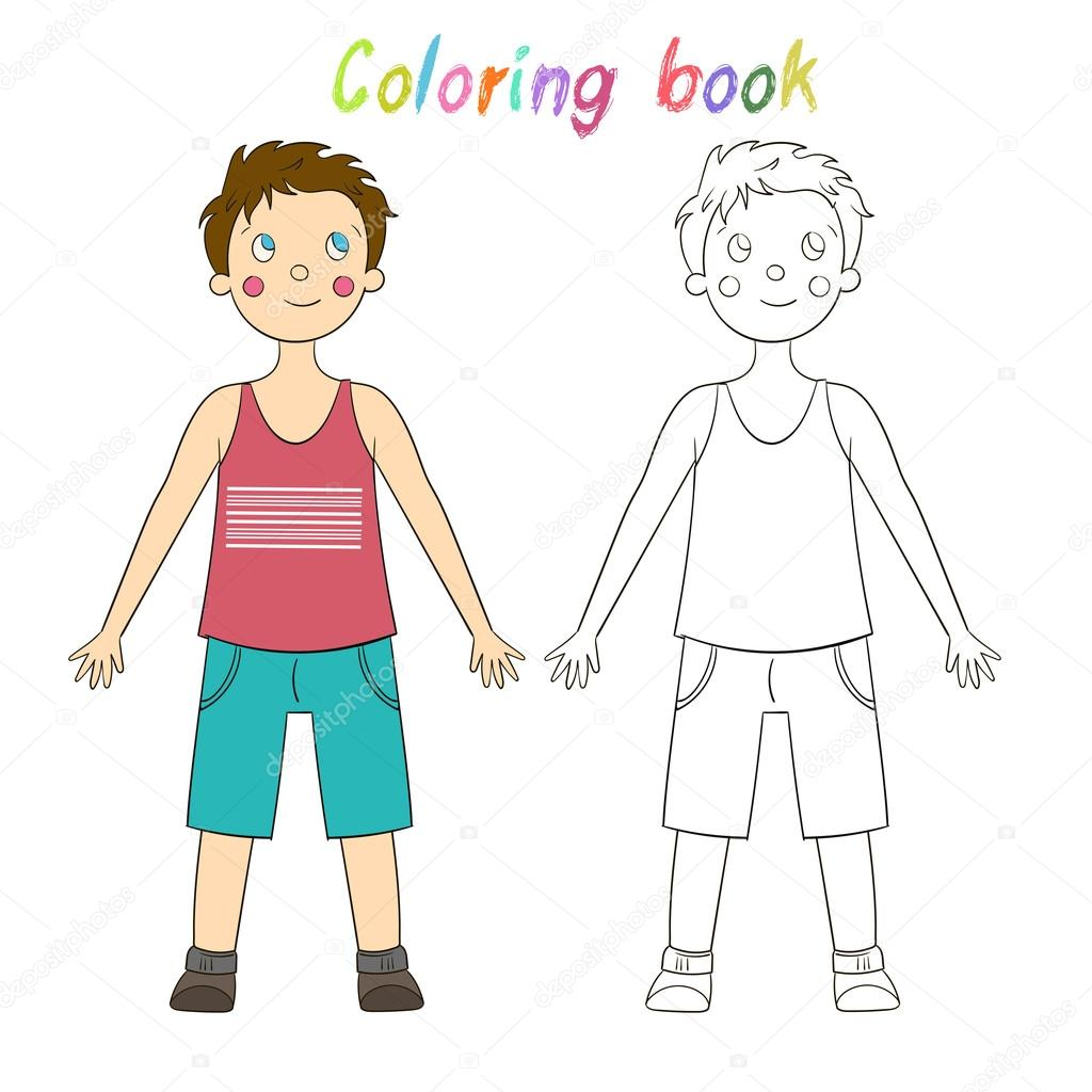 Coloring Book Educational Game Draw The Human Boy Stock Vector