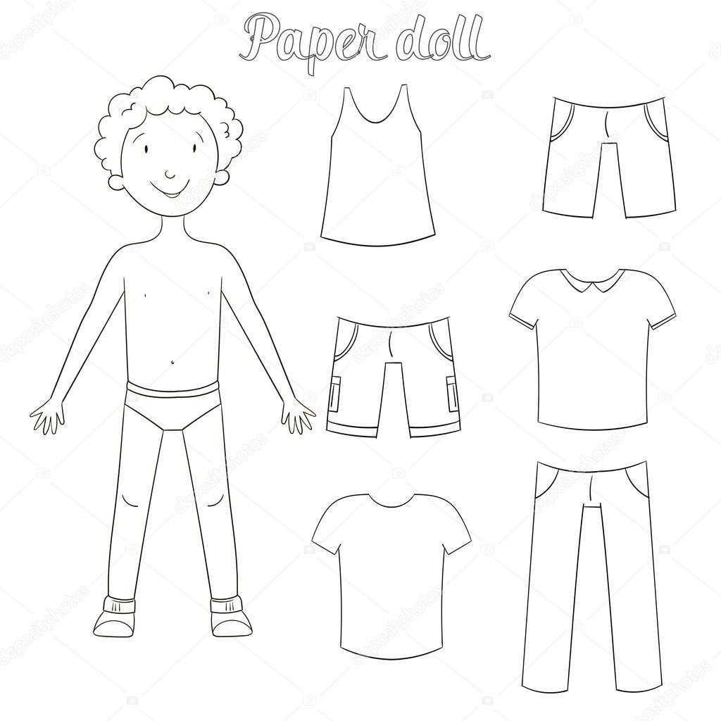Niño de muñeca de papel y libro para colorear de ropa — Archivo ...