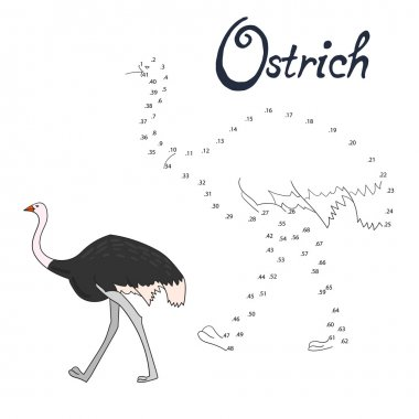 Educational game connect dots  draw ostrich bird