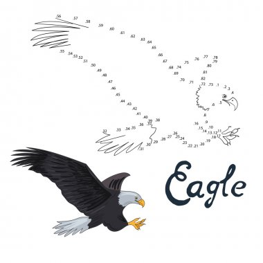Educational game connect dots to draw eagle bird