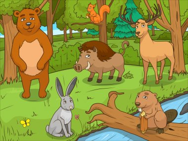 Forest cartoon animals educational game vector