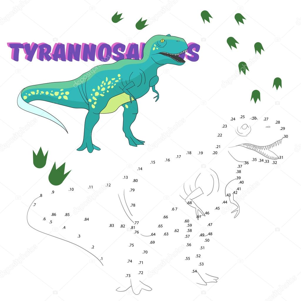 educational game connect dots to draw dinosaur u2014 stock vector
