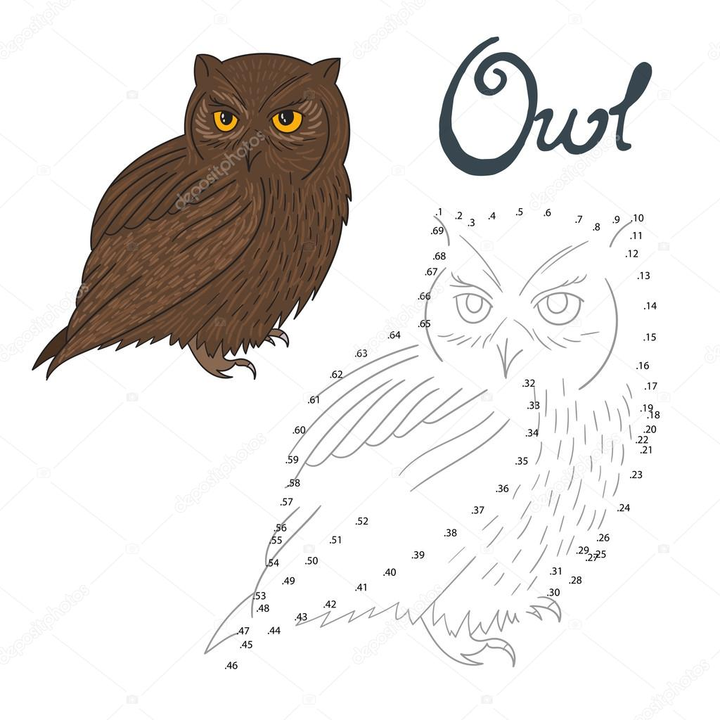 educational game connect dots to draw owl bird u2014 stock vector