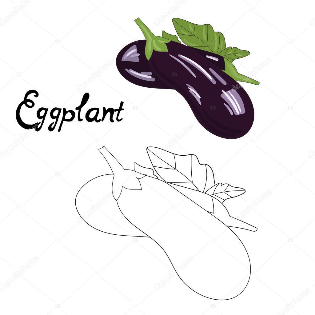 Eğitim Oyunu Kitap Patlıcan Vektör Boyama Stok Vektör
