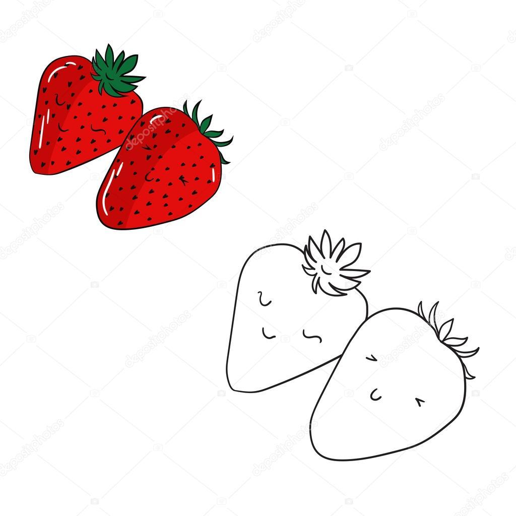 Juego educativo para colorear frutas libro fresa — Vector de stock ...